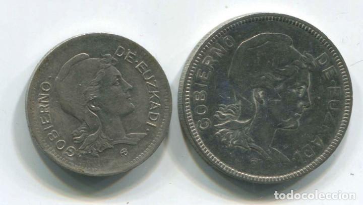 DOS MONEDAS DE 1 PESETA Y 2 PESETAS DE EUZKADI, 1937. REPÚBLICA ESPAÑOLA (Numismática - España Modernas y Contemporáneas - República)