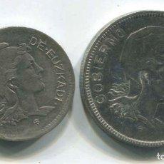 Monedas República: DOS MONEDAS DE 1 PESETA Y 2 PESETAS DE EUZKADI, 1937. REPÚBLICA ESPAÑOLA. Lote 147632282