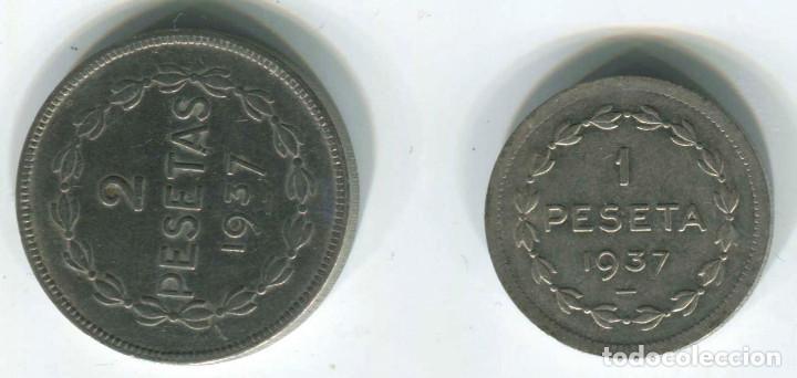 Monedas República: DOS MONEDAS DE 1 PESETA Y 2 pesetas de Euzkadi, 1937. REPÚBLICA ESPAÑOLA - Foto 2 - 147632282