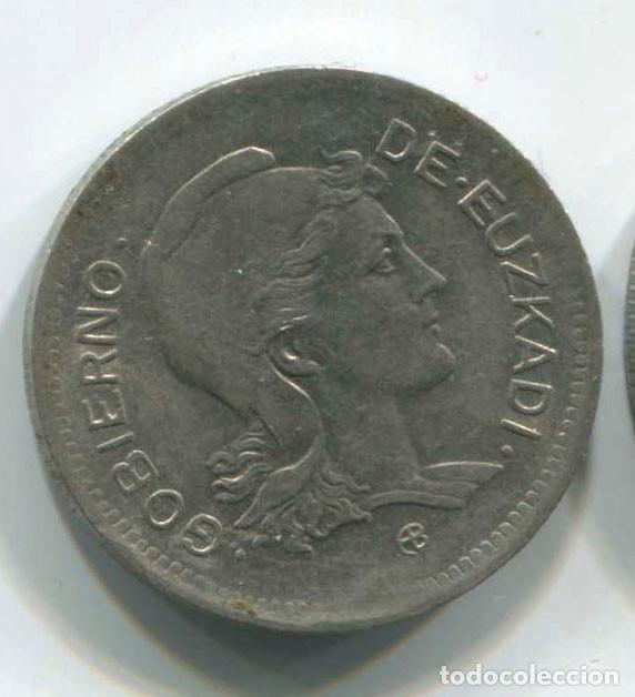 Monedas República: DOS MONEDAS DE 1 PESETA Y 2 pesetas de Euzkadi, 1937. REPÚBLICA ESPAÑOLA - Foto 3 - 147632282