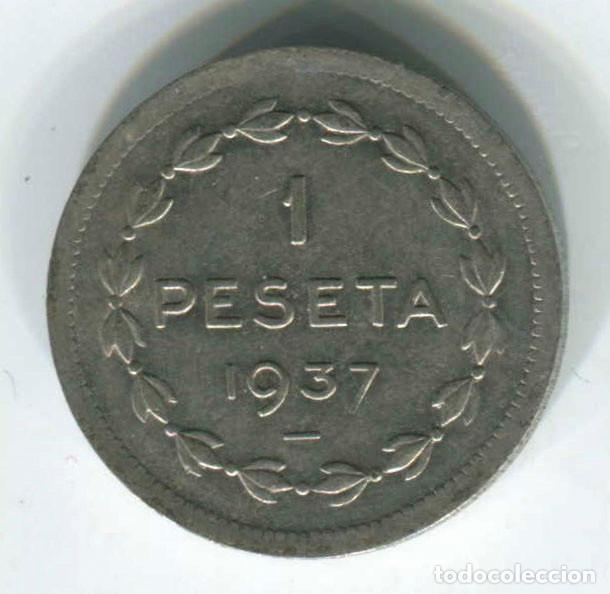 Monedas República: DOS MONEDAS DE 1 PESETA Y 2 pesetas de Euzkadi, 1937. REPÚBLICA ESPAÑOLA - Foto 4 - 147632282