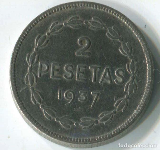 Monedas República: DOS MONEDAS DE 1 PESETA Y 2 pesetas de Euzkadi, 1937. REPÚBLICA ESPAÑOLA - Foto 6 - 147632282