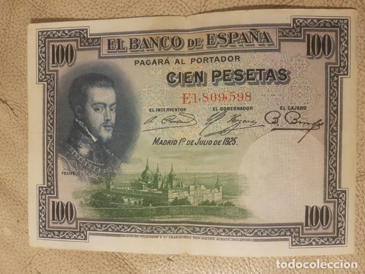 BILLETE CIEN 100 PESETAS 1925 FELIPE II CIRCULADO. SERIE E. (Numismática - España Modernas y Contemporáneas - República)