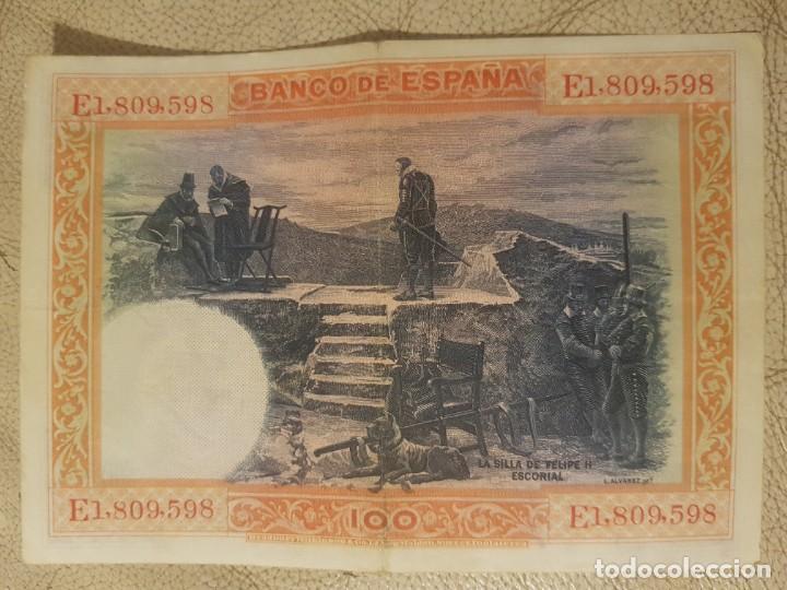 Monedas República: BILLETE CIEN 100 PESETAS 1925 FELIPE II CIRCULADO. SERIE E. - Foto 2 - 147634010