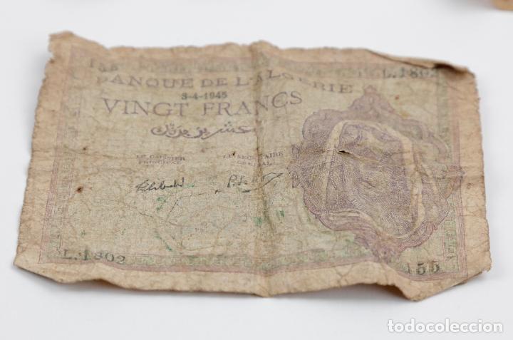 Monedas República: Lote de 4 billetes, pesetas y francos, República Española, Banque de lAlgerie. Ver fotos. - Foto 4 - 148170098