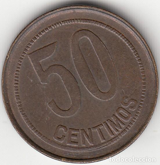 Monedas República: II REPUBLICA: 50 CENTIMOS 1937 - SIN ESTRELLAS - REVERSO PUNTOS CUADRADOS - Foto 2 - 148280298