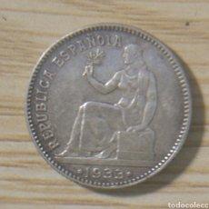 Monedas República: UNA PESETA , VARIANTE DE REVERSO GIRADO REPÚBLICA ESPAÑOLA 1933*34. Lote 148764126