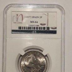 Monedas República: II REPUBLICA ESPAÑOLA.EUZKADI. 2 PESETAS 1937. ENCAPSULADA POR NN-COINS. MS 64 (SC+). Lote 150040830