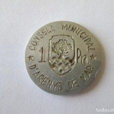 Monedas República: REPUBLICA ESPAÑOLA * CONSEJO MUNICIPALDE ARENYS DE MAR-BARCELONA * 1 PESETA . Lote 151060386