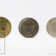 Monedas República: CONJUNTO 3 MONEDAS / FICHAS SEGARRA DE GAIÀ - 1 PESETA LATÓN, COBRE Y NÍQUEL - REPÚBLICA - BC - #E01. Lote 151957482