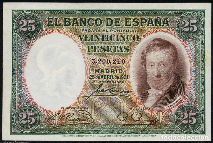 1931 BILLETE 25 PTAS SC++ NUMERACIÓN SIN SERIE (Numismática - España Modernas y Contemporáneas - República)