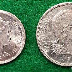 Monedas República: GUERRA CIVIL. GOBIERNO DE EUZKADI. JUEGO COMPLETO. 1 Y 2 PESETAS DE 1937. NIQUEL.. Lote 156227758