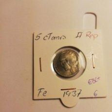 Monedas República: MONEDA 5 CÉNTIMOS II REPÚBLICA 1937 EBC+ VARIANTE BUSTO GRANDE. Lote 156540474