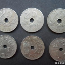 Monedas República: 6 MONEDAS DE 25 CÉNTIMOS DE 1927 Y 1937. Lote 156554910