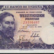 Monedas República: 1954 BILLETE 25 PTAS EBC++ NO.SERIE: J . Lote 156675338