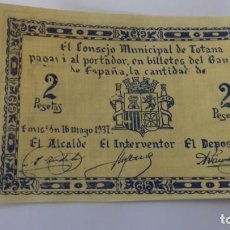 Monedas República: BILLETE DE 2 PESETAS DE TOTANA. Lote 157865646