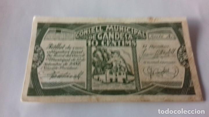 BILLETE DE 10 CENTIMOS TERMINO MUNICIPAL DE GANDESA (Numismática - España Modernas y Contemporáneas - República)