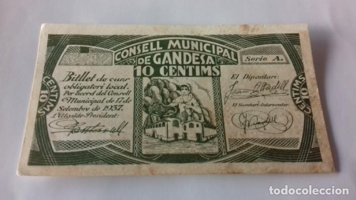 Monedas República: Billete de 10 Centimos termino municipal de Gandesa - Foto 3 - 157866218