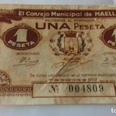 Monedas República: BILLETE DE 1 PESETA DE MAELLA. Lote 157867182