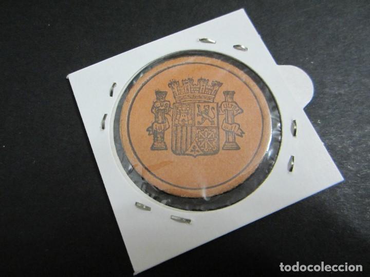 Monedas República: 25 céntimos de la 2ª república en cartón moneda con sello violeta/marron - Foto 2 - 159130902