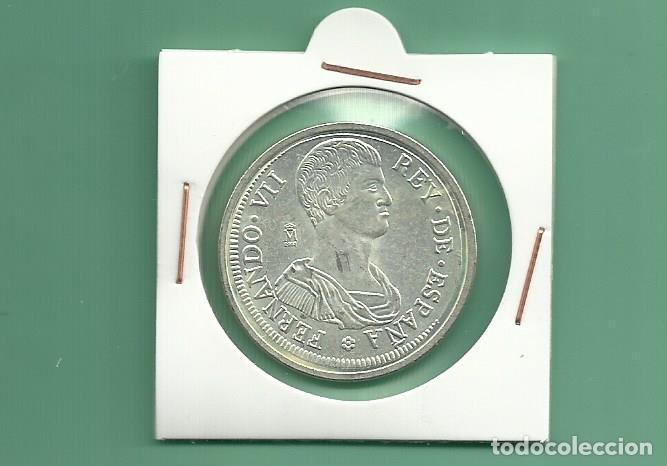 REPLICA DE LA FNMT. 5 PESETAS 1809. FERNANDO VII GERONA (Numismática - España Modernas y Contemporáneas - República)
