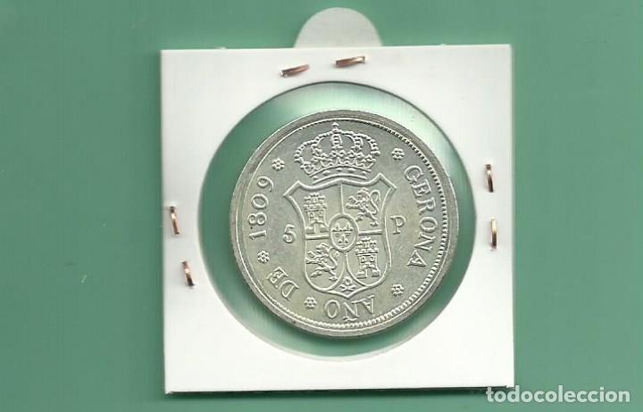 Monedas República: REPLICA DE LA FNMT. 5 PESETAS 1809. FERNANDO VII GERONA - Foto 2 - 213498116