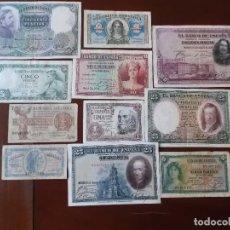 Monedas República: CONJUNTO DE BILLETES DE LA SEGUNDA REPUBLICA Y ALGUNOS DE DICTADURA CIRCULADOS . Lote 161310770