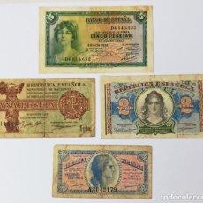 Monedas República: 4 BILLETES DE ESPAÑA. AÑOS 1935. 1937. 1938. Lote 161646498