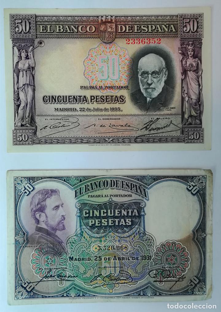 1 BILLETE DE 50 PESETAS 1931 Y 1 BILLETE DE 50 PESETAS 1935. ESPAÑA (Numismática - España Modernas y Contemporáneas - República)