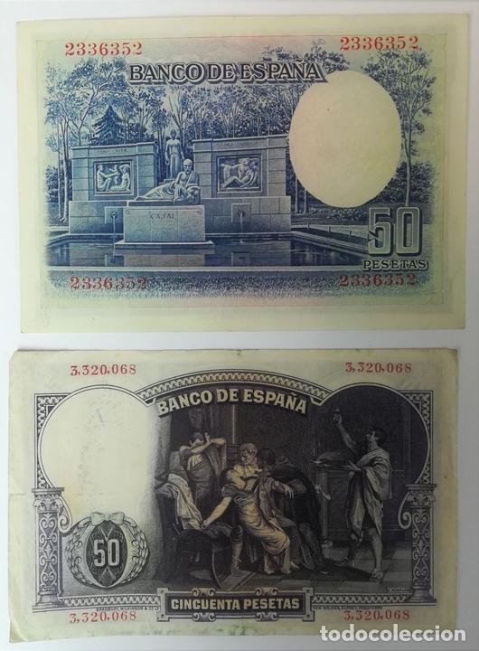 Monedas República: 1 BILLETE DE 50 PESETAS 1931 Y 1 BILLETE DE 50 PESETAS 1935. ESPAÑA - Foto 2 - 161784114