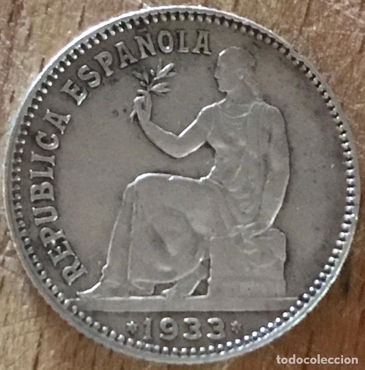 REVERSO GIRADO 1 PESETA DE LA II REPÚBLICA ESPAÑOLA DE 1933 (Numismática - España Modernas y Contemporáneas - República)
