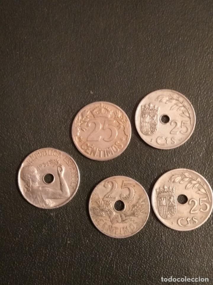 LOTE DE 5 MONEDAS DE 25 CENTIMOS DE 1925-27-34 Y 37 (Numismática - España Modernas y Contemporáneas - República)