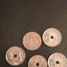 Monedas República: LOTE DE 5 MONEDAS DE 25 CENTIMOS DE 1925-27-34 Y 37. Lote 164175542