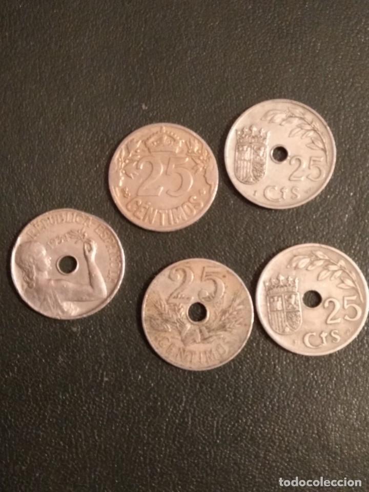 Monedas República: Lote de 5 monedas de 25 centimos de 1925-27-34 y 37 - Foto 2 - 164175542