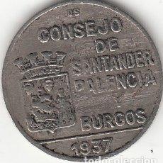 Monedas República: II REPUBLICA: 1 PESETA. CONSEJO DE SANTANDER PALENCIA Y BURGOS - 1937. Lote 165803300