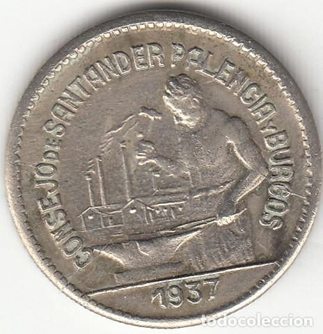 II REPUBLICA: 50 CENTIMOS. CONSEJO DE SANTANDER PALENCIA Y BURGOS - 1937 / VARIANTE PJR (Numismática - España Modernas y Contemporáneas - República)