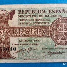 Monedas República: BILLETE - UNA PESETA- REPUBLICA ESPAÑOLA- EMISION 1.937- SERIE A. Lote 168940872
