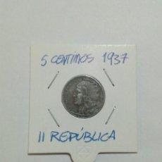 Monedas República: MONEDA ESPAÑOLA 5 CÉNTIMOS 1937. Lote 172361099