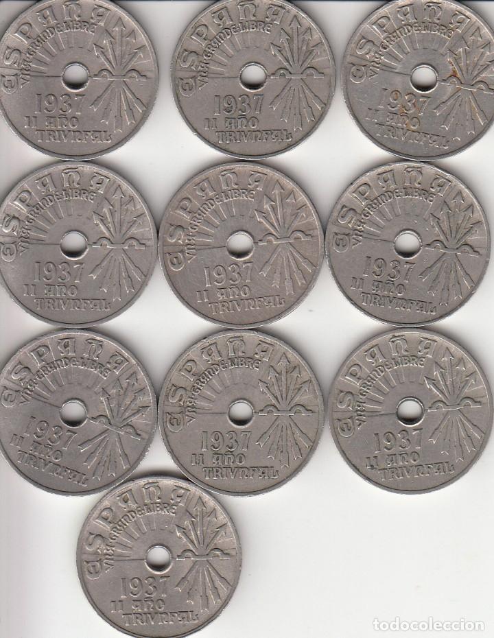 GUERRA CIVIL: 10 CENTIMOS 1937 - II AÑO TRIUNFAL ( LOTE 10 MONEDAS ) (Numismática - España Modernas y Contemporáneas - República)