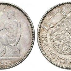 Monedas República: II REPUBLICA. 1 PESETA. 1933 *3-4. REVERSO GIRADO 45 GRADOS. AR. 4,99G. EBC+/SC-. Lote 177328002