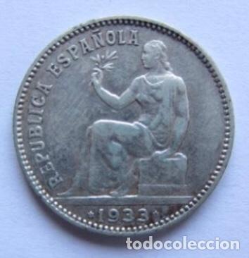 Monedas República: MONEDA DE 1 PESETA DE PLATA DE 1933, II REPÚBLICA ESPAÑOLA. - Foto 2 - 178389351