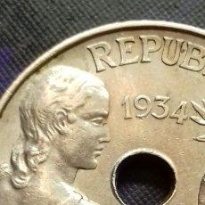 Monedas República: ESPAÑA - II REPÚBLICA - 25 CÉNTIMOS 1934 MADRID - SC- 7,04 GRAMOS. Lote 182493248