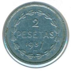 Monedas República: ESPAÑA - II REPÚBLICA 2 PESETAS 1937 ( BC+ ) KM # 2 - EUZKADI. Lote 183182143