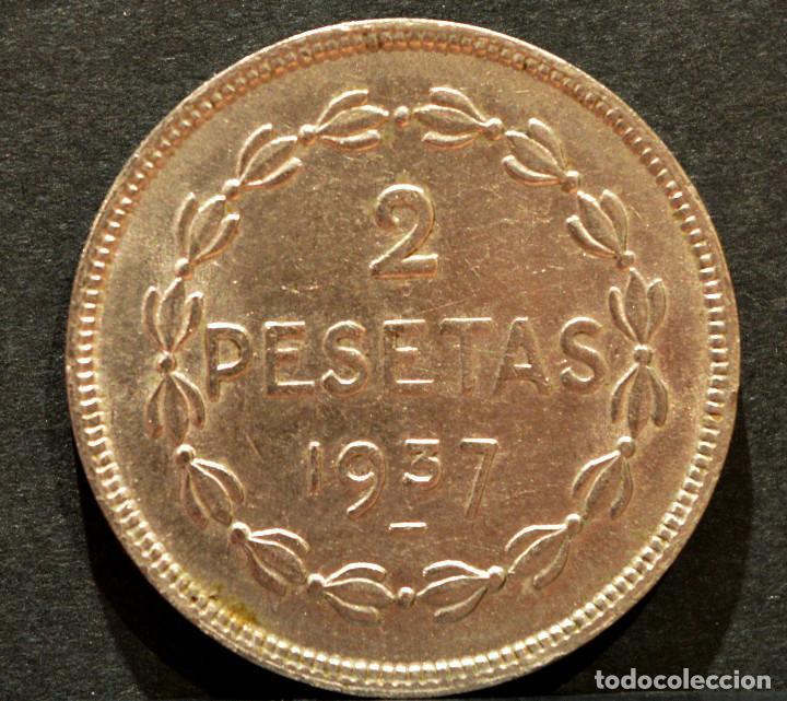 Monedas República: 2 PESETAS 1937 GOBIERNO DE EUZKADI NIKEL GUERRA CIVIL REPUBLICA ESPAÑA - Foto 3 - 124422914