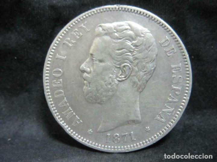 MONEDA DE PLATA 900ER-ESPAÑA 5 PESETAS 1871 AMADEO I APROX. 24,7 G) (Numismática - España Modernas y Contemporáneas - República)