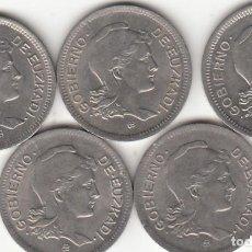 Monedas República: LOTE: 5 MONEDAS - 1 PESETAS 1937 GOBIERNO DE EUZKADI ( GUERRA CIVIL ). Lote 190241352