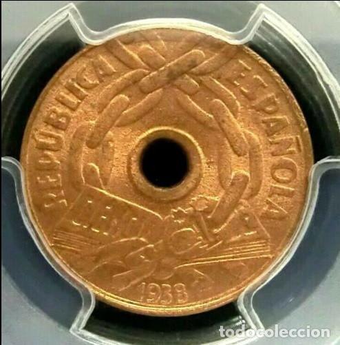 PCGS MS56RD ESPAÑA II REPÚBLICA 25 CÉNTIMOS 1938 (Numismática - España Modernas y Contemporáneas - República)