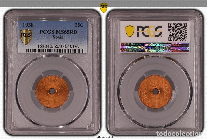 Monedas República: PCGS MS56RD España II República 25 Céntimos 1938 - Foto 5 - 190738717