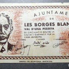 Monedas República: ANTIGUO PAPEL MONEDA AJUNTAMENT LES BORGES BLANQUES REP.ESPAÑOLA. Lote 191219671