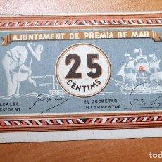Monedas República: ANTIGUO PAPEL MONEDA AJUNTAMENT PREMIA DE MAR REP.ESPAÑOLA. Lote 191220220